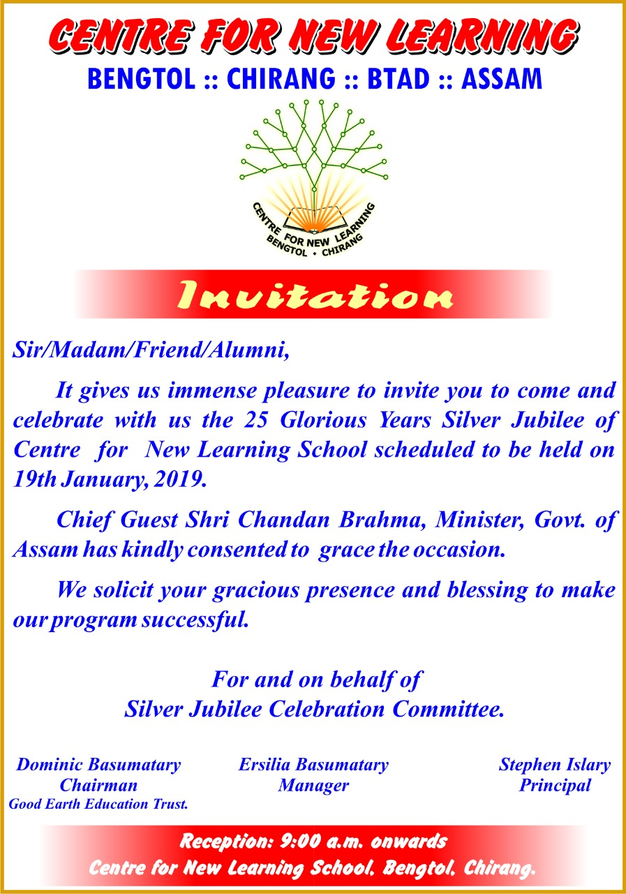 Invitation for Silver Jubilee Celebration, CNL